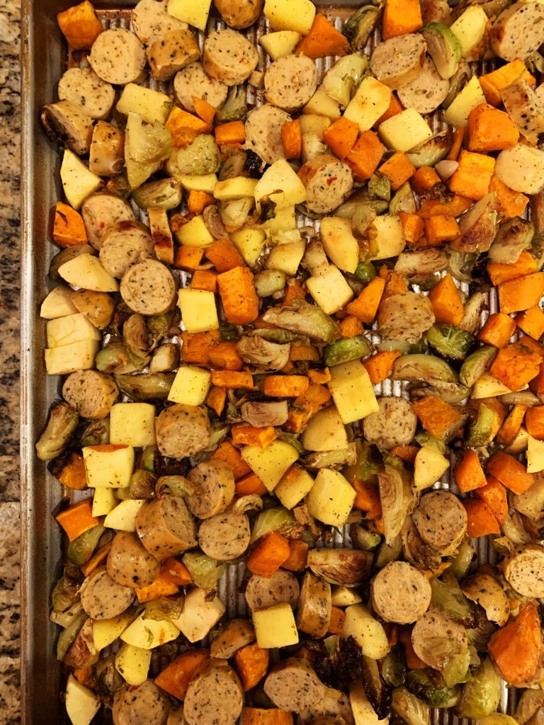 sweet and savory sweet potato hash close up on a sheet pan