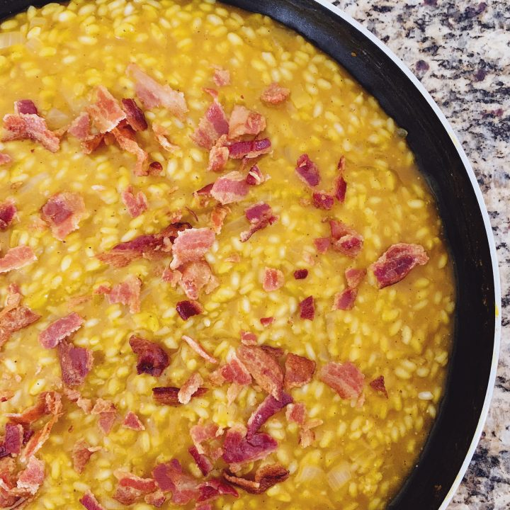 Butternut Squash Risotto with Bacon in a pan