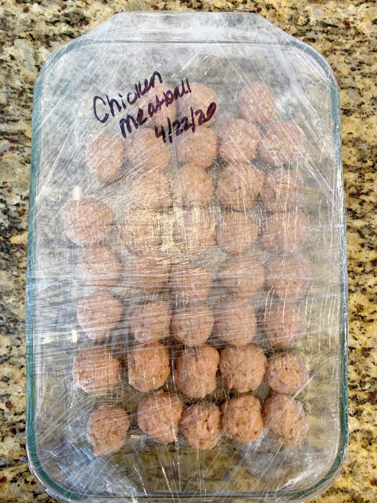 Chicken meatballs wrapped for the freezer
