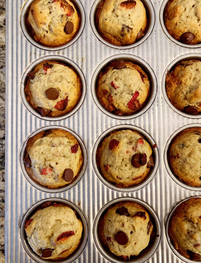 Strawberry Dark Chocolate Banana Muffins