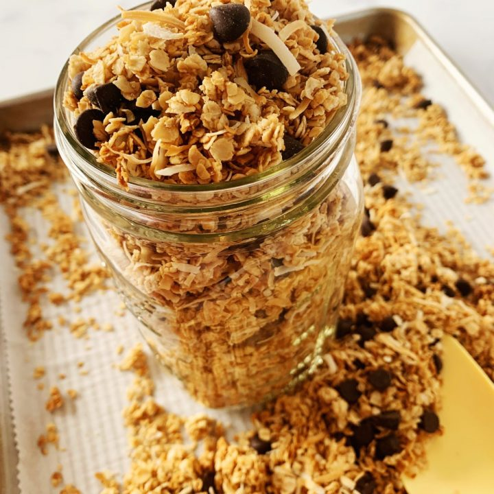 dark chocolate coconut granola in a mason jar