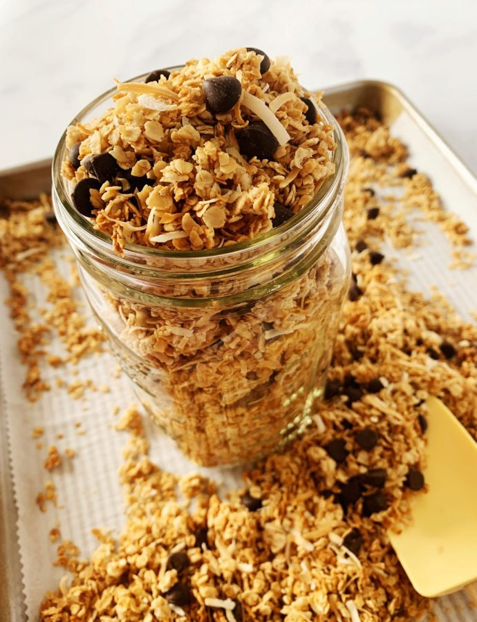Delicious Homemade Dark Chocolate Coconut Granola