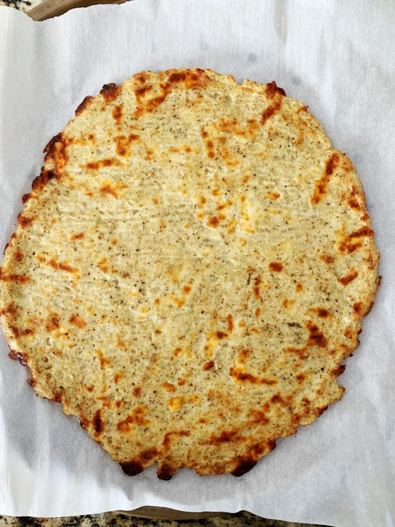 Cauliflower pizza crust baked without toppings