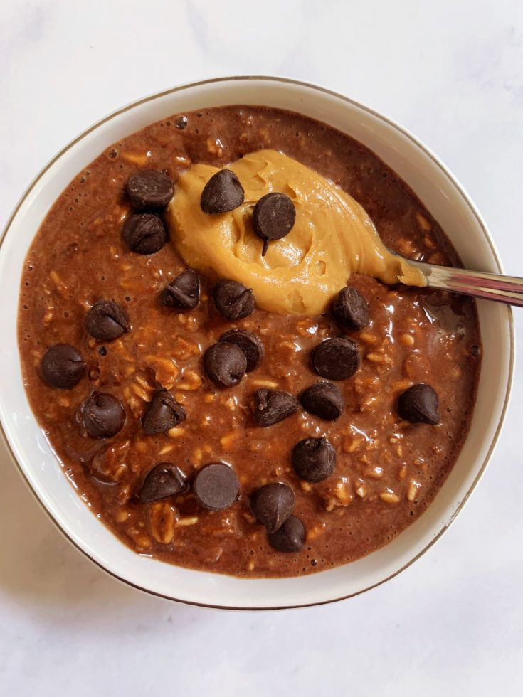 chocolate peanut butter protein overnight oats