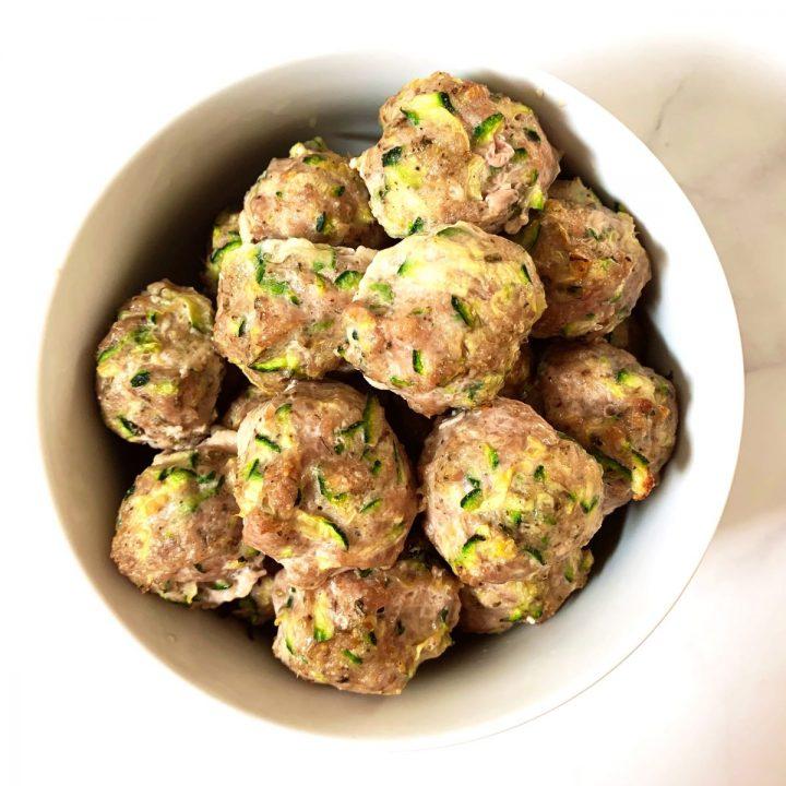 Turkey Zucchini Meatballs in a white bowl