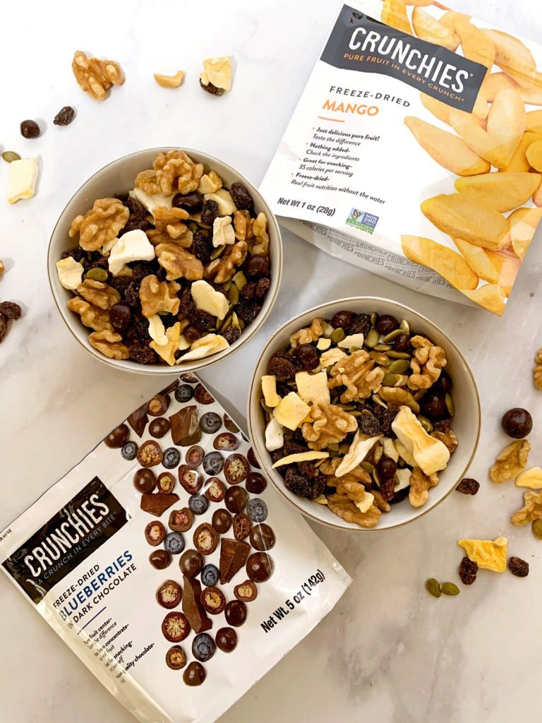 2 bowls of easy dried fruit and nut mix and 2 bags of Crunchies freeze-dried fruit