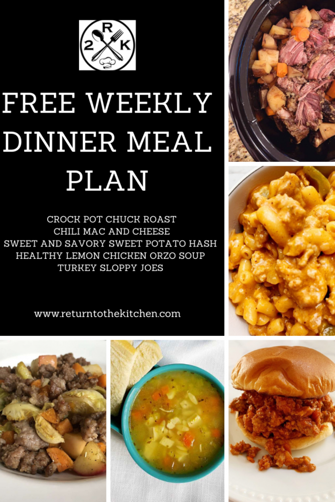 Images of all 5 meals included in this Free Weekly Dinner Meal Plan