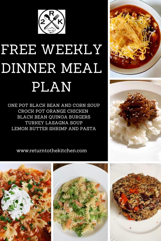 free weekly dinner meal plan