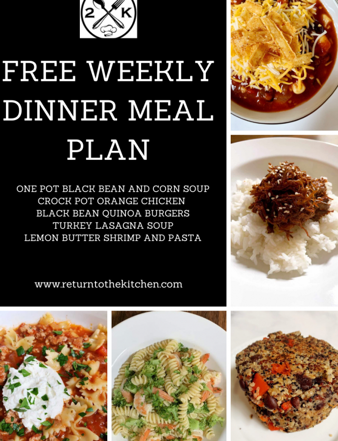 Free Weekly Dinner Meal Plan (October 30)
