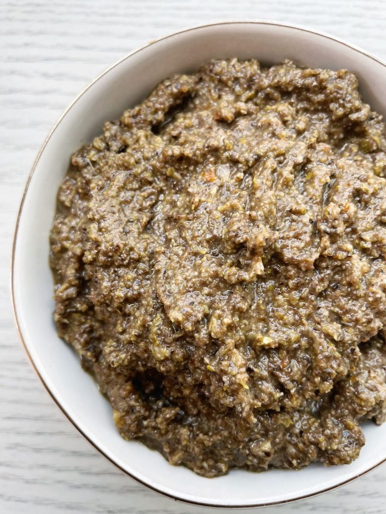 bowl of black and green olive tapenade