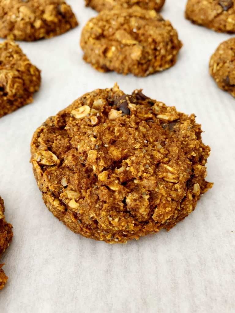 close up of easy vegan pumpkin pecan and oatmeal cookie