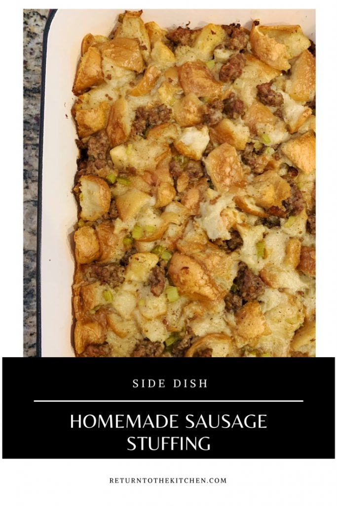 Cooked homemade sausage stuffing in a casserole dish