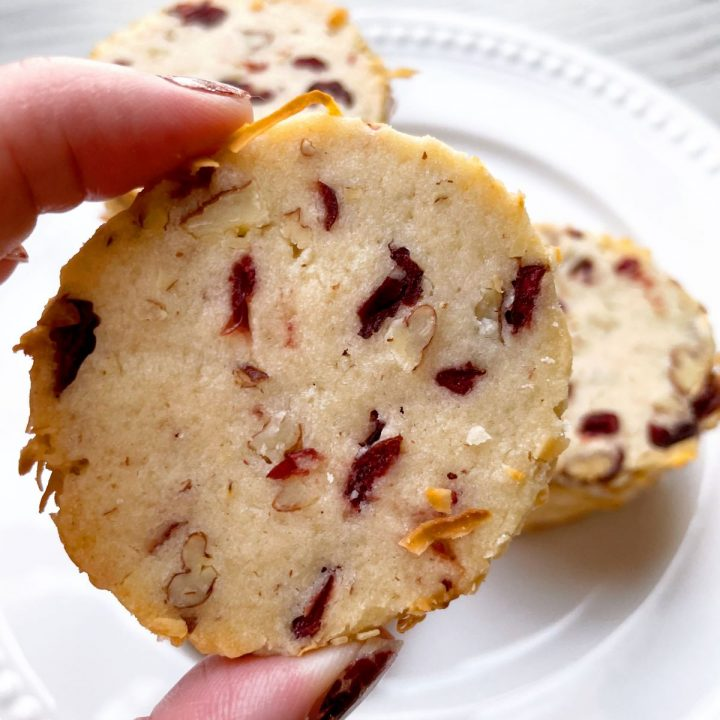 up close image of cranberry noel cookie