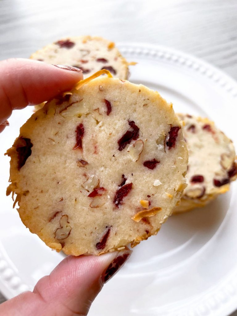close up of cranberry noel cookie