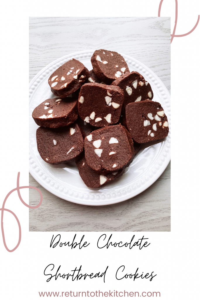 double chocolate shortbread cookies on a white plate
