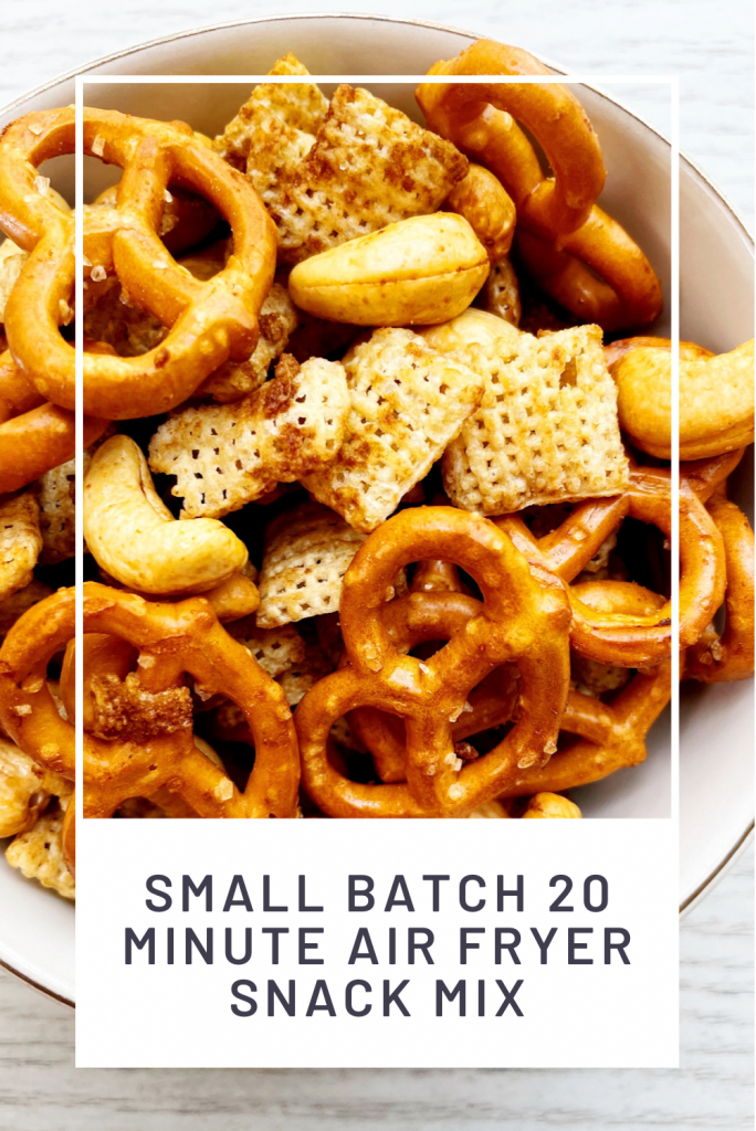 close up of small batch 20 minute air fryer snack mix