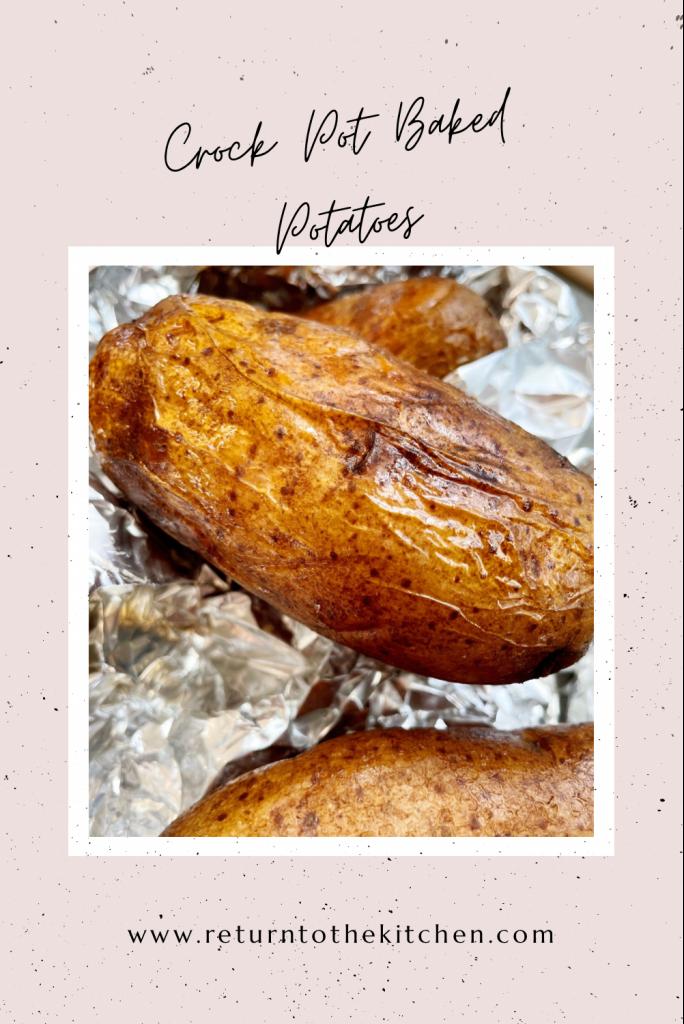 crock pot baked potatoes close up