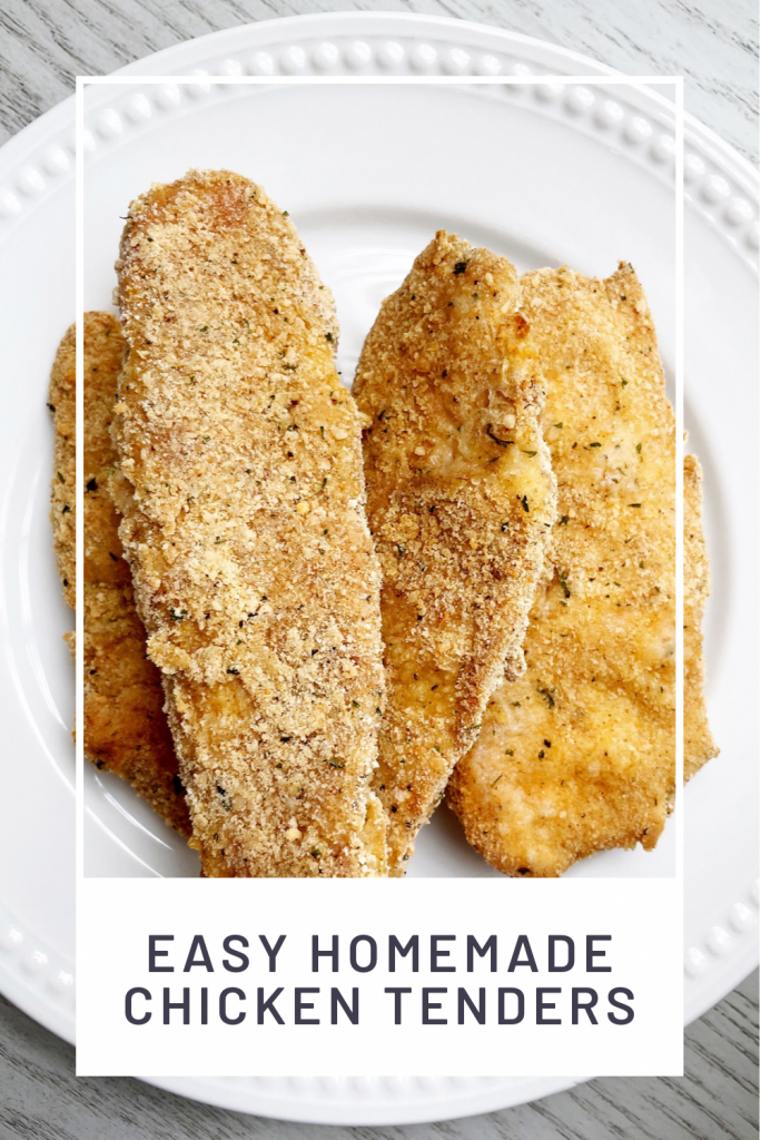 easy homemade chicken tenders on a white plate