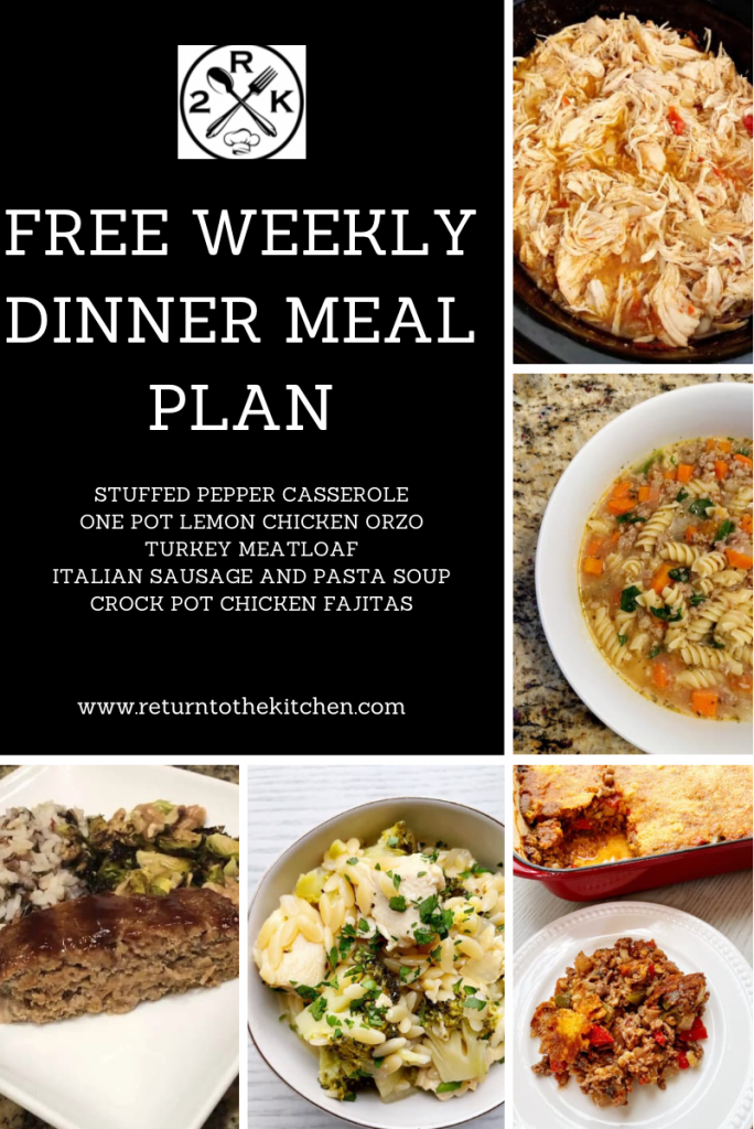 free weekly dinner meal plan
