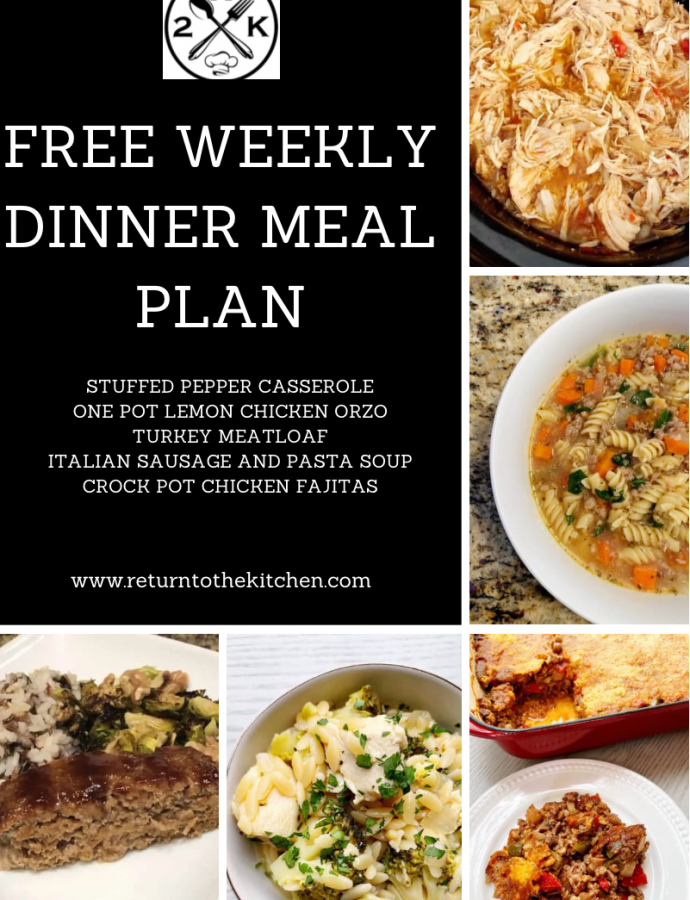 Free Weekly Dinner Meal Plan (March 22)