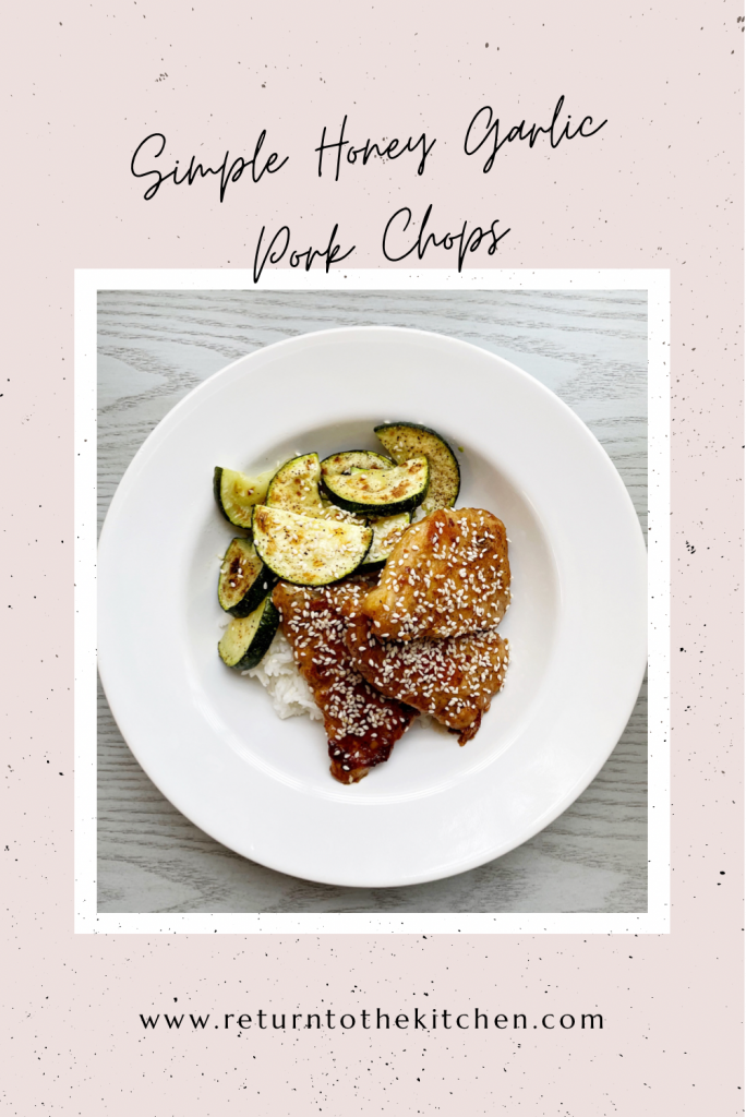 Simple Honey Garlic Pork Chops in a white bowl with white rice and roasted zucchini