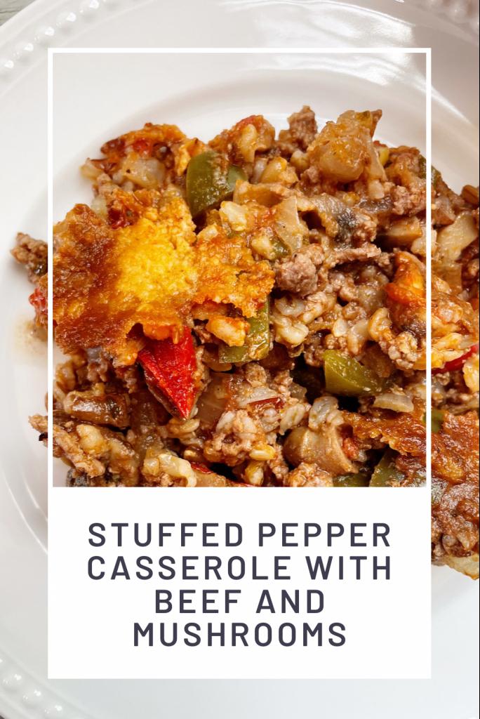 stuffed pepper casserole on a white plate