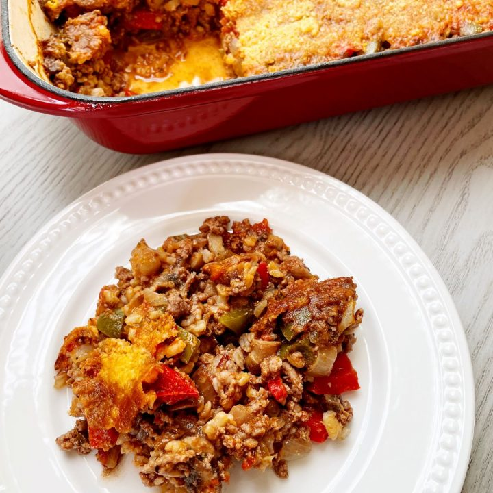 stuffed pepper casserole with beef and mushrooms