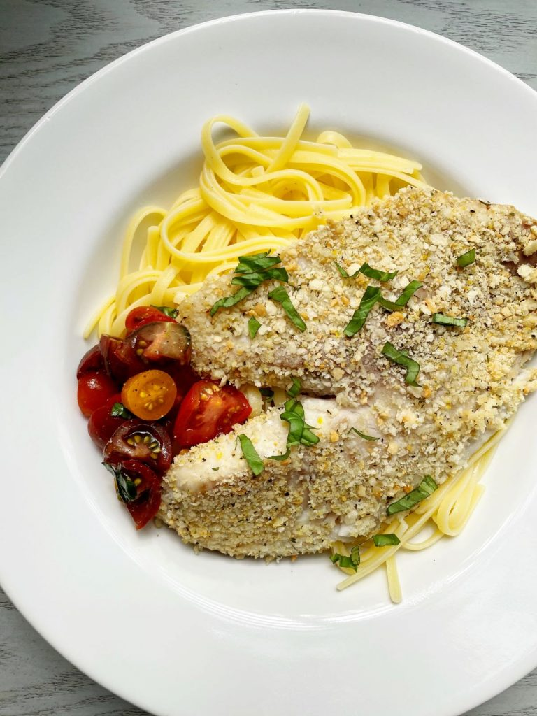 Lemon Pepper Breaded Tilapia with Pasta Tomatoes and Basil