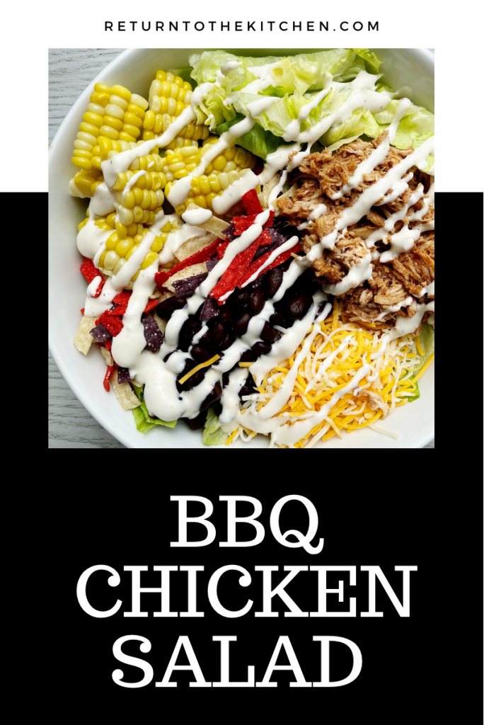 BBQ chicken Salad in a large white bowl