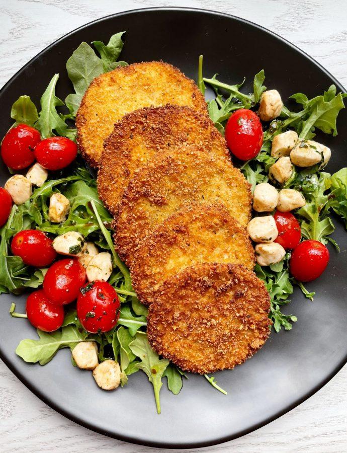 Pan Fried Eggplant with Arugula Caprese Salad {gluten-free option}