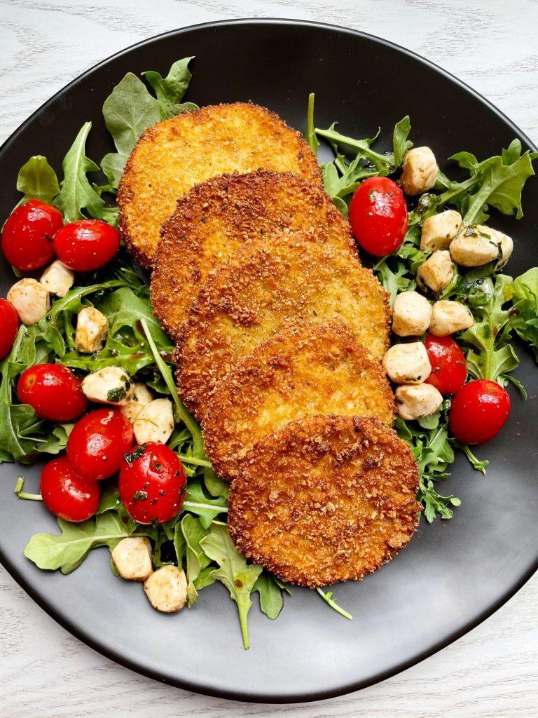 fried eggplant with arugula caprese salad