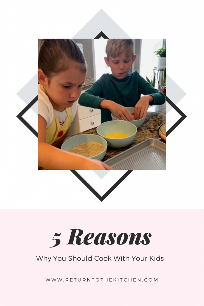 kids breading chicken and placing on a pan