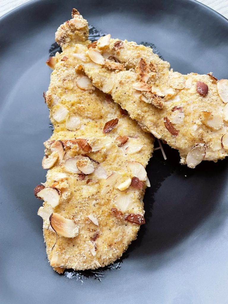 gluten-free oven baked almond crusted chicken