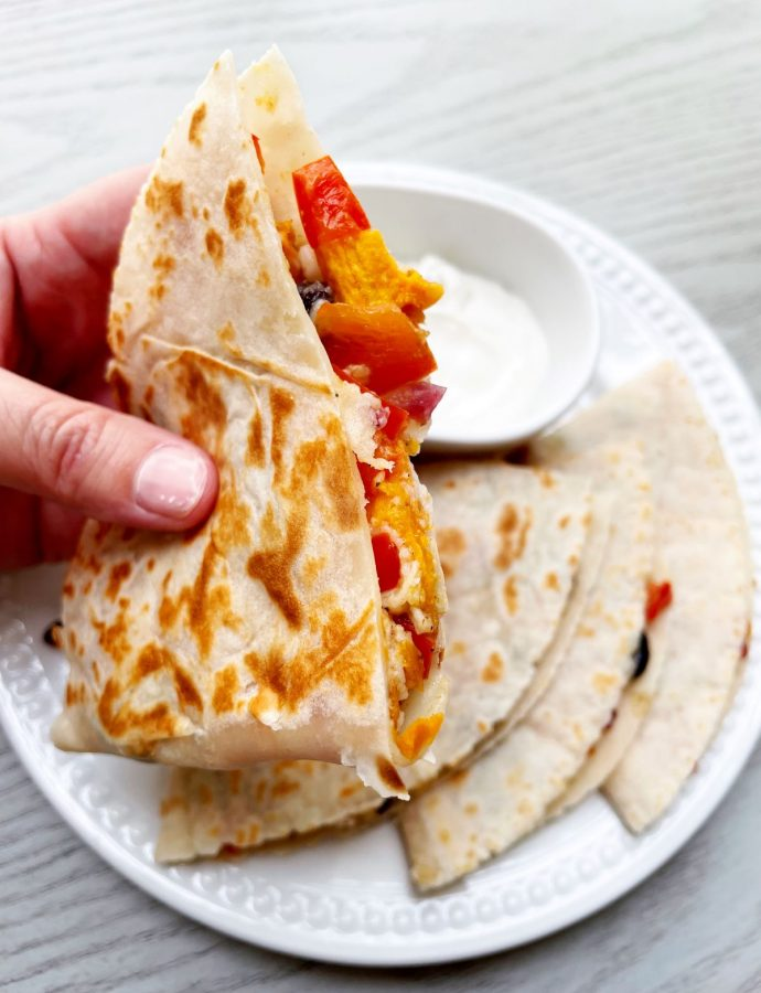 Roasted Vegetable Quesadillas with Sweet Potatoes and Black Beans