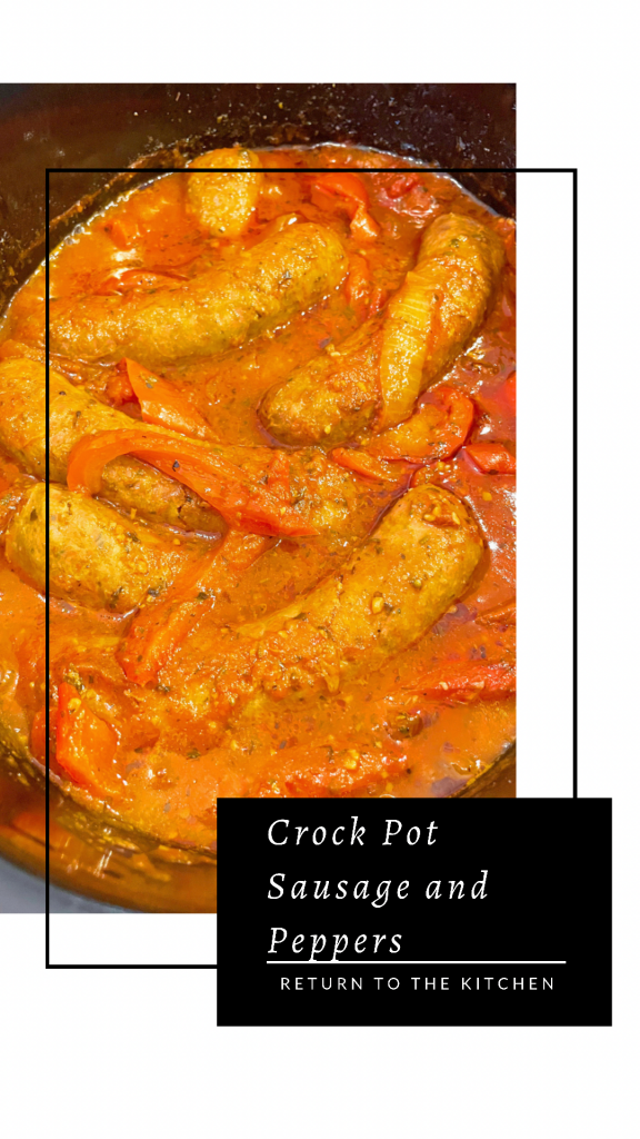 Crock Pot Sausage and Peppers {no browning needed} in the crock pot after cooking