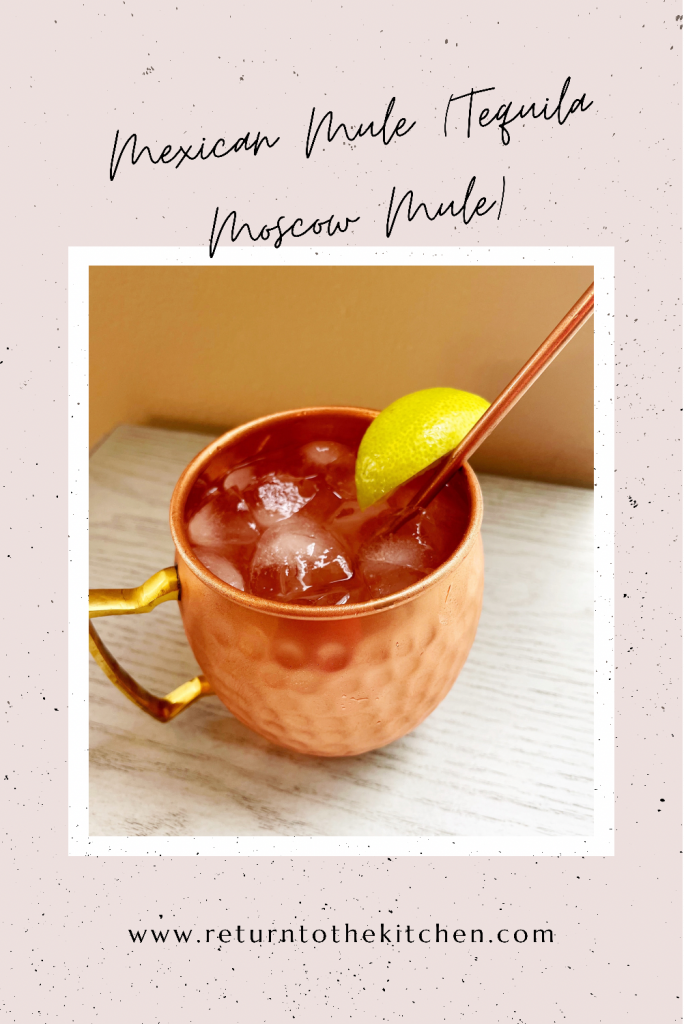 mexican mule in a copper mug with a straw and lime garnish