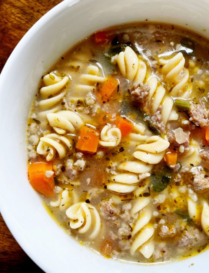 One Pot Italian Sausage and Pasta Soup