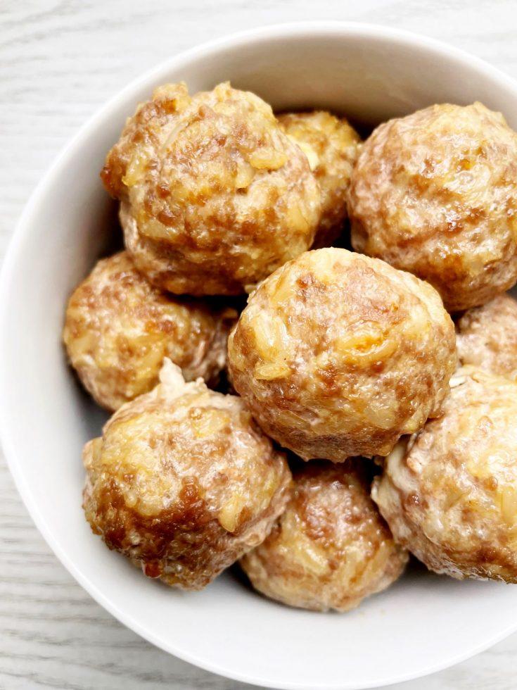 pork and brown rice meatballs
