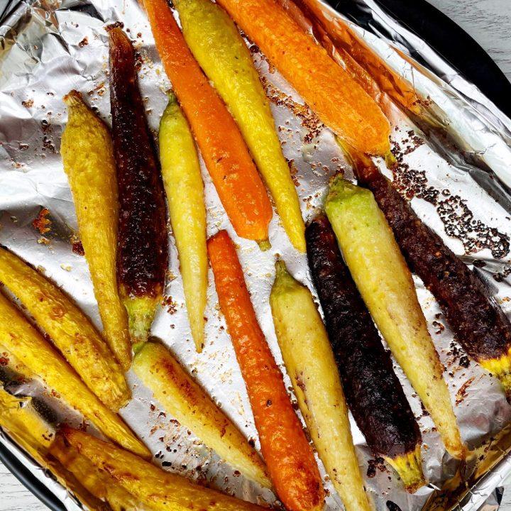 sweet and salty air fryer rainbow carrots