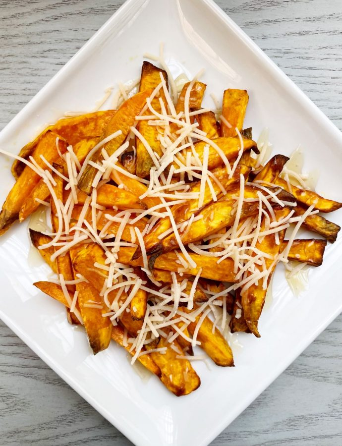 Air Fryer Sweet Potato Fries with Honey and Parmesan Cheese