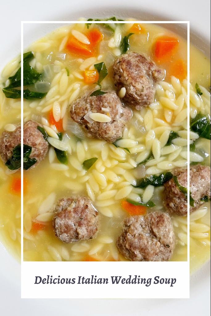 Delicious Italian wedding Soup in a white bowl